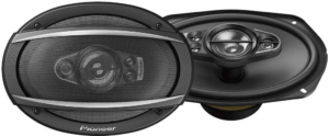 """This is an image of the Pioneer TS-A6990F 6x9"""" car speakers, Pair in black color"""