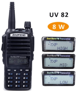 This is an image of the Baofeng UV-82 High Power Dual Band Ham Radio- black