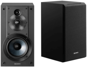 This is an image of a pair Sony SSCS5 Bookshelf Speakers- black