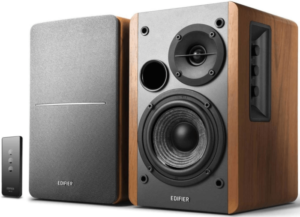This is an image of two Edifier R1280T brown wooden Bookshelf Speakers with remote control