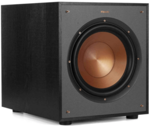 This is an image of a black Klipsch R-100SW 10 inch Subwoofer