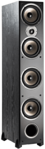 This is an image of a black Polk Audio Monitor 70 Series II Tower Speaker