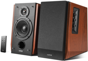 This is an image of two Edifier R1700BT Bookshelf wooden Speakers with remote control -brown