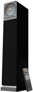 close up view of the Sykik TSME26 tower speake with remote control-black