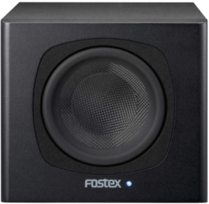 close up view of the Fostex 5-Inch Powered Subwoofer- black