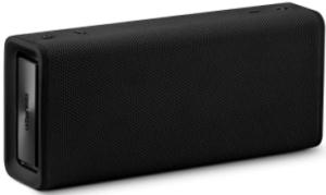close-up view of the Urbanista Brisbane bluetooth wireless portable speaker-black