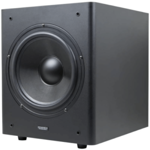 close up view of the Monoprice Stage Right 10-Inch Powered Subwoofer-black