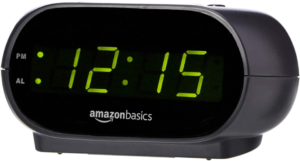 close-up view of the Amazon Basics Alarm Clock with LED Display in black color