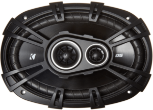 close up view of a black Kicker 43DSC69304 Car Audio Coaxial Speakers