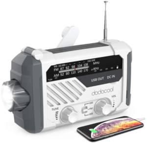 This is an image of a white Dodocool Emergency Solar Hand Crank survival Radio with phone Charger, AM/FM and LED Flashlight