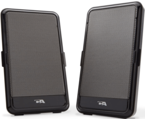 This is an image of two black Portable PC Audio Speakers by Cyber Acoustics