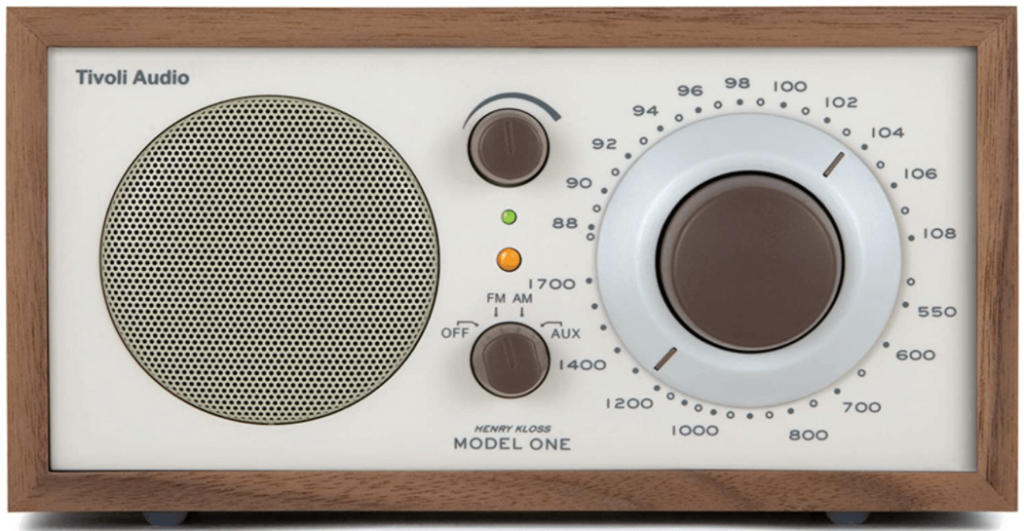 This is an image of a brown Tivoli Audio model One Am/ fm Tabletop Radio