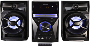image of the Magnavox MM441 CD shelf music system with LED display and remote control in black