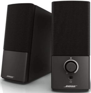close up view of two black Bose Companion 2 Series III Speakers