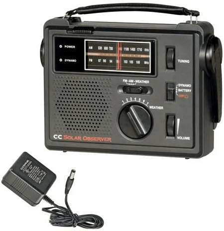 This is an image of a black C. Crane CC Solar Observer Emergency Survival Radio with Built in LED Flashlight and AC Adaptor