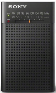 This is an image of a black Sony ICFP26 Portable AM/FM Radio