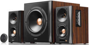 clos-up image of the Edifier S360DB Bookshelf music system with subwoofer and Bluetooth- wooden,brown