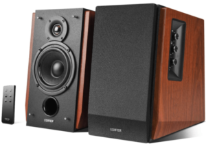 This is an image of the Edifier R1700BT Bluetooth Bookshelf Speakers with remote control- brown