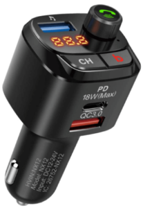 image of the Nulaxy Bluetooth 5.0 Car FM Transmitter in black color
