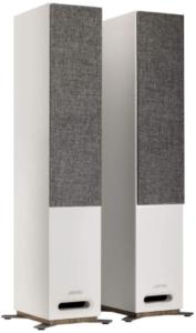 This is an image of Jamo Studio S807 White Floorstanding Speakers - Pair