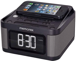 close-up view of a black Alarm Clock Radio with 2 USB Charging ports and 1.2 Inch LCD Display by Memorex