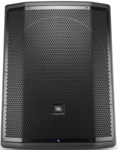 close up view of the JBL Professional PRX818XLFW 18-Inch Powered Subwoofer-black