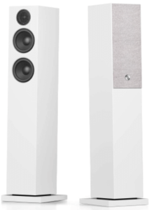 close up view of Audio Pro A36 Bluetooth wireless tower speakers - Pair, White