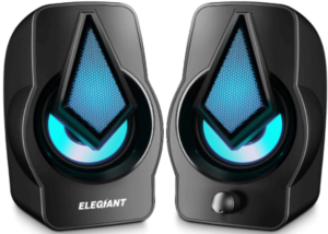 This is an image of ELEGIANT USB Powered PC Stereo Speakers-pair in black color