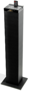 close up image of a black GOgroove Bluetooth Tower Speaker