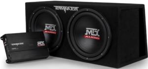 "close up view of the MTX Audio TNP212DV black 12"" subwoofer -pair"
