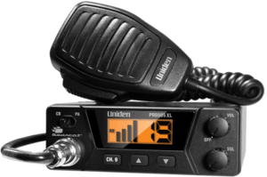 close up image of the Uniden PRO505XL CB Radio with transceiver- black