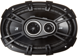 close up view of the Kicker 43DSC69304 D-Series 6x9 inch car audio coaxial speakers-black
