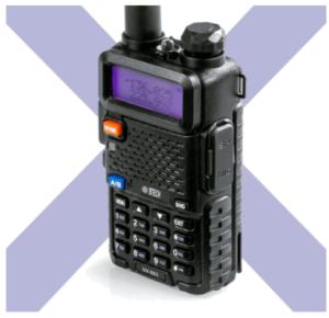 close up image of the BTECH UV-5X3 Dual Band Ham Radio- black