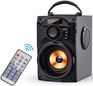 image of the EIFER Portable Bluetooth Speakers with Subwoofer and remote control in black color