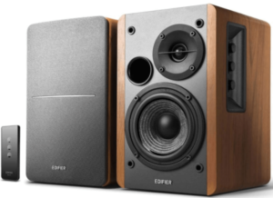 image of two Edifier R1280T Powered wooden Speakers with remote control in black color