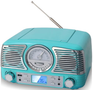 close up view of the TechPlay QT62BT Retro wireless Bluetooth stereo-blue