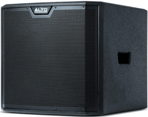 close up view of the Alto Professional TS312S 12-Inch Powered Subwoofer- black
