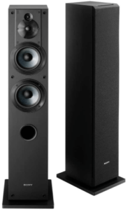 close up view of the front and back side of the Sony SSCS3 Floor-Standing Speaker- black