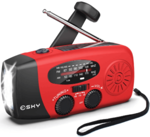 This is an image of a red Esky Hand Crank Solar Emergency survival Radio with phone Charger, AM/FM and LED Flashlight