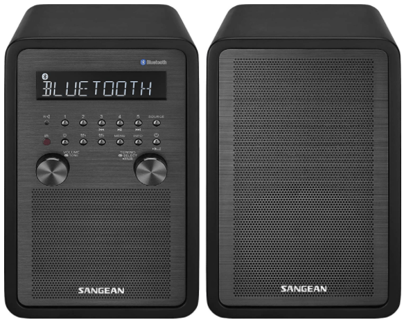 This is an image of a black Sangean WR-50P FM-RBDS/AM/Bluetooth Wood Cabinet Table Top radio