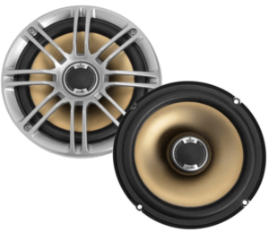 """close up image of the Polk Audio DB651 6.5""""/6.75"""" 2-Way Car Speakers- pair in silver/black color"""