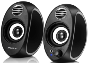 close up image of two black Computer Gaming Speakers by BONKS