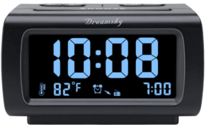image of the DreamSky alarm clock radio with 4inch lcd screen display-black