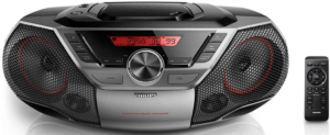 close up image of the Phillips Boombox Bluetooth Speaker with LCD Display and remote cotrol - black