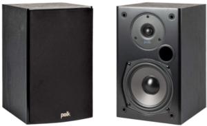image of two black Polk Audio T15 Bookshelf Speakers