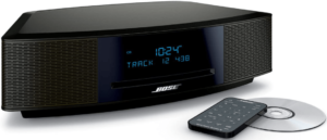 image of the Bose Wave stereo music system with remote control in black color