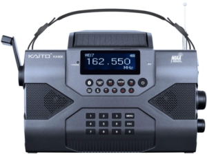This is an image of a black Kaito Voyager Max KA900 hand crank Emergency survival Radio with phone Charger, AM/FM