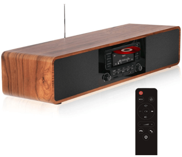 This is an image of a brown KEiiD CD Player Table Top radi with Remote Control