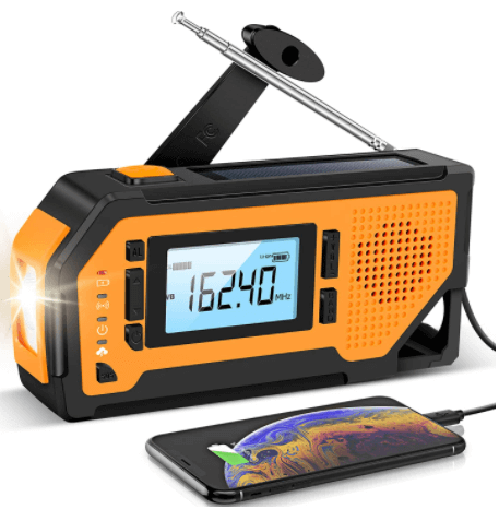 This is an image of a black and yellow Emergency hand crank Survival Radio with Flashlight and Phone Charger by Aiworth