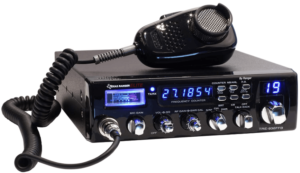 This is an image the Texas Ranger Elite TRE-936FFB with transceiver in black color for truckers